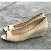 Size 8.5 Dolce Vita llla Beige/Tan Leather Vero Cuoio Suede Peep Toe Wedge Pumps