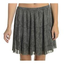 NEW M BCBG Generation Pleated Lined Chiffon Elastic Waist Skirt in Gray/Black