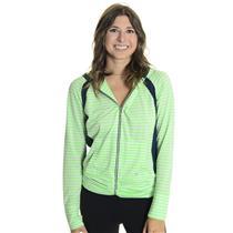 NWT Sz M Bolle Penelope Kelly Green/White Striped Full Zip Long Sleeve Jacket