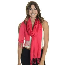 NWT ONESIZE Chico's Coral Red Ravella Shawl Wrap w/Frindged Hem Silk Wool Blend
