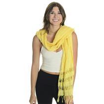 NWT ONESIZE Chico's Gold Yellow Joleen Shawl Wrap w/Frindged Hem Silk Wool Blend
