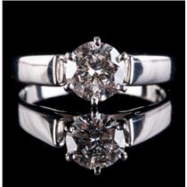 14k White Gold Round Cut Diamond Cathedral Solitaire Engagement Ring 1.0ct