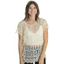 L Solitaire By Ravi Khosla Ivory Short Sleeve Crochet Open Knit Round Neck Top
