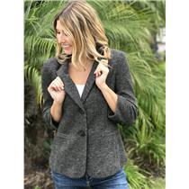 Size S Anthropologie Cartonnier Brown/White Button Up Padded Shoulder Blazer