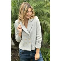 S Anthropologie Cartonnier Gray Wool Double Breasted Button Up Blazer Jacket