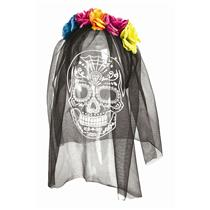 Day of the Dead Headband with Skull Printed Veil Costume Accessory