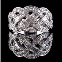 18k White Gold Round & Baguette Cut Diamond Ribbon Style Cocktail Ring .64ctw