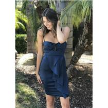 2 Blumarine Navy Blue Knee Length Dress w/Beaded Detail Velvet Spaghetti Straps