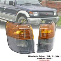 1 Pair Front Corner Light Lamp For Mitsubishi Pajero Montero NH NJ NK 1992-97