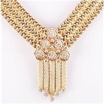 "Heavy 14k Yellow Gold Round Cut Diamond Collar Necklace .50ctw 18"" Length 103.1g"