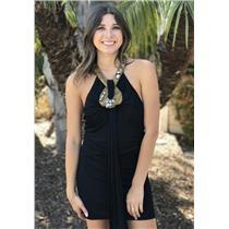 US 8 GB 10 AMEN Italy Black Halter Rayon Mini Dress Metal Glass Gem Gold Collar