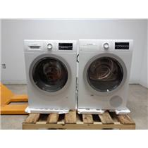 """Bosch 500 Series 24"""" Front Load Washer / Dryer SET+ Stacking Kit White/Silver IM"""