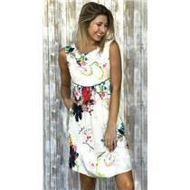 S Matty M 100% Silk White Floral Printed Sheath Dress w/Pockets & Exposed Zipper