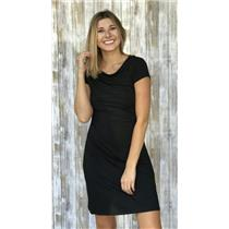 S New Three Dots Soft Jersey Cap Short Sleeve Stretch Ruched Mini Dress Black