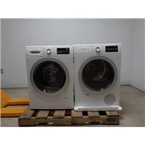 "Bosch 500 Series 24"" Front Load Washer & Dryer SET+ Stacking Kit White Details"
