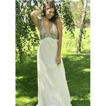 8 Marchesa Notte Silk Cream Beaded Halter Neck Full Length Gown w/Ruffled Hem