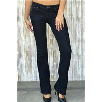 Sz 26 Genetic Denim The Riley Dark Low Rise Boot Cut Stretchy Jeans TIN Wash