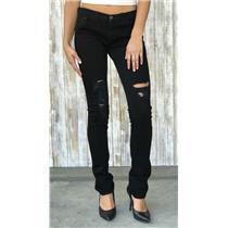 Sz 29 J Brand Pencil Leg Slim Fitting Factory Distressed TORN JETT Black Jeans