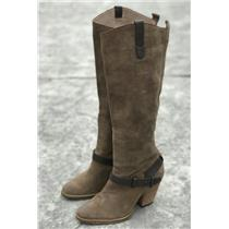 7 Dolce Vita Taupe Brown Suede/Nubuck Block Heeled Knee Zip Strap Ankle Boots