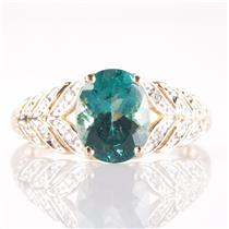 14k Yellow Gold Oval Cut Apatite Solitaire Ring W/ Diamond Accents 2.02ctw