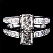 18k White Gold Modified Radiant Cut Diamond Solitaire Engagement Ring 1.51ctw