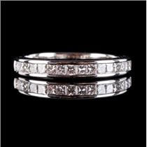 18k White Gold Princess Cut Diamond Channel Set Wedding Anniversary Ring .64ctw