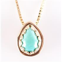 14k Yellow Gold Pear Cabochon Cut Turquoise Solitaire Charm On Necklace 2.0ct