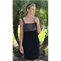 8 St. John Collection Black Santana Knit Dress Swarovski Crystal w/Empire Waist