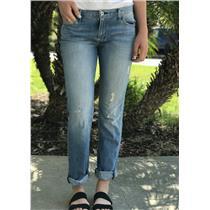 Sz 3 M Levi's Women's Boyfriend Jeans Medium Wash Distressed Rigid Cotton Denim