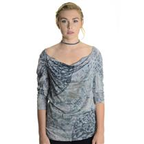 M New California Bloom Wide Neck Puff Sleeve Jersey Knit Gray Studded Blouse Top