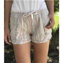 S Anthropologie Mermaid Brand Striped Pull On Multi Color Linen BlendCuff Shorts