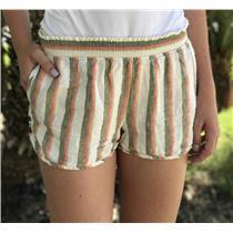 S Anthropologie Mermaid Brand Striped Shirred Waist Linen Shorts Side Button
