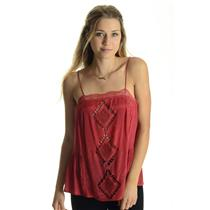 NEW XS Tularosa Rusted Red Marni Lace Trim Embroidered Spaghetti Strap Camisole