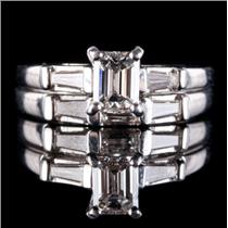 14k White Gold Emerald Cut Diamond Engagement / Wedding Ring Set 1.14ctw