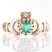 10k Yellow Gold Heart Cut Emerald Irish Made Traditional Claddagh Ring .22ct