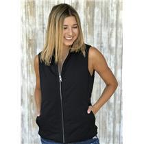 S Banana Republic Black Polyester Filled Zip Front Vest Fleece Collar Zip Pocket