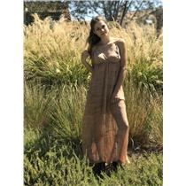 S EUC Gypsy 05 Beige Tie Dye Empire Waist Crossover Neck 100% Silk Maxi Dress
