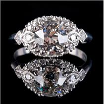 Vintage 1910's Platinum Old Euro Cut Diamond Solitaire Engagement Ring 1.72ct