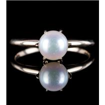 Vintage 1960's 14k Yellow Gold Natural Cultured Round Pearl Solitaire Ring