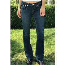 "Sz 27 Authentic True Religion Womens Joey Flare Jeans w/Twisted Leg 33"" Inseam"