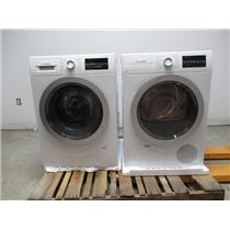 """Bosch 500 Series 24"""" Front Load Washer & Dryer SET+ Stacking Kit White/Silver (6)"""