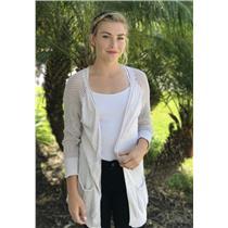 M (2) Michael Stars Oatmeal 100% Cotton Cardigan w/Open Knit Sleeves & Pockets