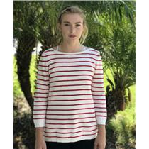 L Madewell Ivory & Red Striped Thick Cotton/Wool Blend Sweater A3357 w/Zip Sides