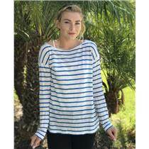 M Michael Stars White Blue Striped Linen Boxy Tee Nautical Top Sweater LK9238
