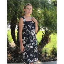 Size 10 Banana Republic Grey Floral Square Neck Sleeveless Chiffon Shift Dress