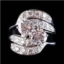 Vintage 1940's 14k White Gold Diamond Engagement Three Piece Wedding Set 3.10ctw