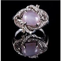 Vintage 1930's 18k White Gold Natural Pink Star Sapphire & Diamond Ring 5.45ctw