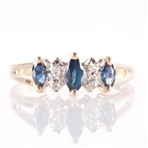 14k Yellow Gold Marquise Cut Sapphire & Single Cut Diamond Ring .33ctw