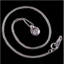 "14k White Gold Round Cut Diamond Solitaire Tear Drop Pendant W/ 16"" Chain .10ctw"