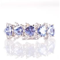 14k White Gold Trillion Cut Tanzanite & Round Cut Diamond Ring 1.25ctw
